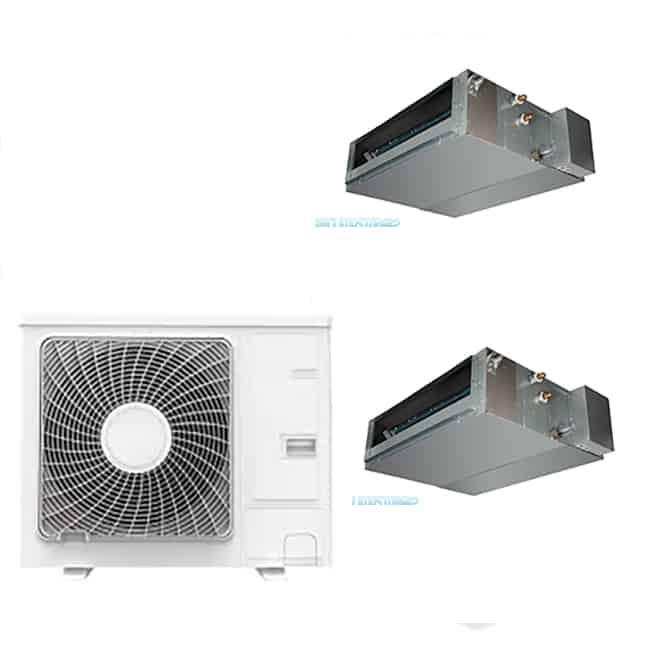 Climatizzatore dual 18 18 canalizzato dc inverter classe for Climatizzatore canalizzato