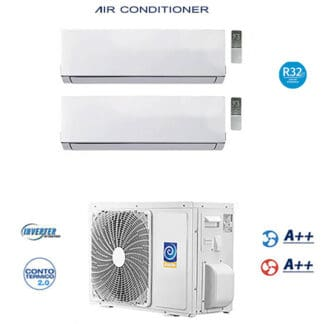 CLIMATIZZATORE DUAL SPLIT GAS R-32 DC INVERTER A++A++ PREDISPOSIZIONE WI-FI LINEA 2021 GARANZIA ITALIA 5 ANNI
